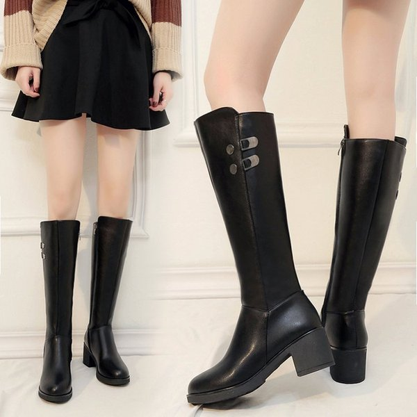 biker boots women woman shoes autumn winter 2018 lady bota botte femme casual luxury platform rubber waterproof high over long
