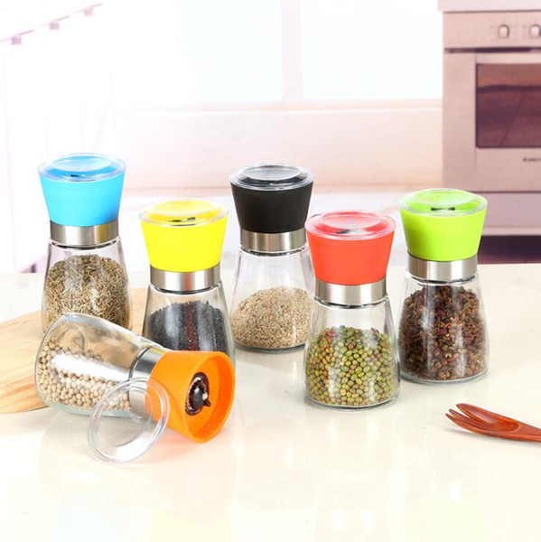 High Quality Best selling Glass Pepper set Salt Herb Spice Hand Grinder Abrader Mill manual pepper mill Kitchen Tool 6 color choose