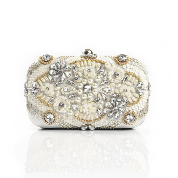 Women Evening Bag Handmade Pearl Party Clutch Bag Bridal Wedding Crystal Beaded Sequin Banquet Handbag For Elegant Ladies