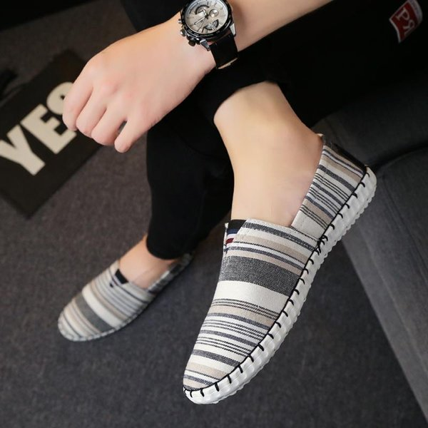 Bean Schuhe Herren Sommer grau setzen Füße atmungsaktiv fahren Freizeitschuhe Studenten Board Schuhe Social Guy faul Stickerei 3sa