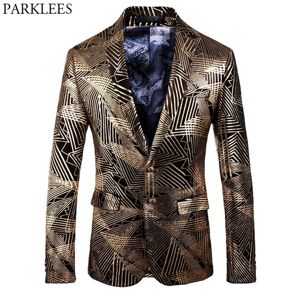 Stylish Gold Line Bronzing Tuxedo Suits Men  Design Slim Club Party Velvet Dress Blazers Mens Prom Stage Costume Homme 5XL