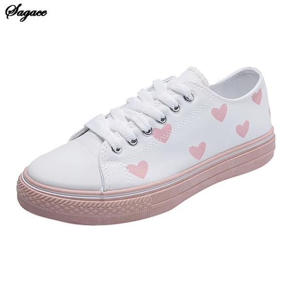 SAGACE Kadın Ayakkabı Tuval Aşk Moda Brock Tide Dantel-up Düz Ekstra Büyük Boy Tek Casual Ayakkabı Yürüyüş