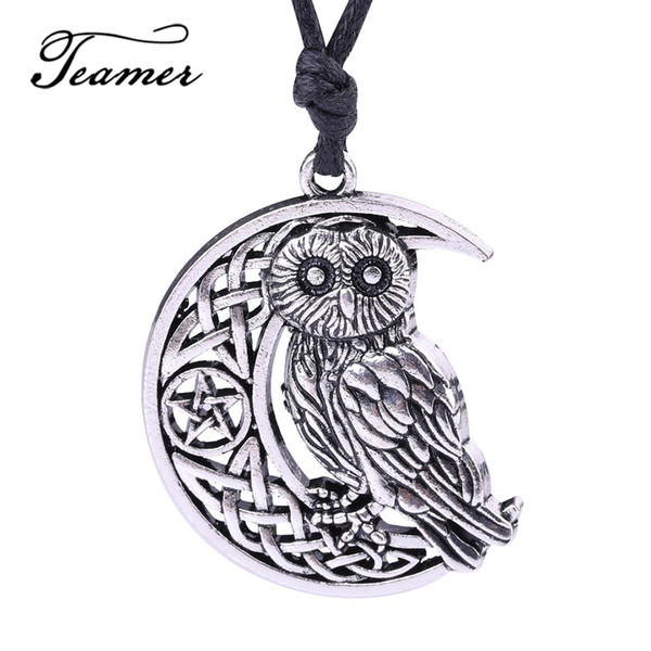 moon pendant Teamer Owl Necklace Goddess Crescent Moon Pendant Wicca Amulet Talisman Occult Magick Athena Wisdom Knowledge Jewelry