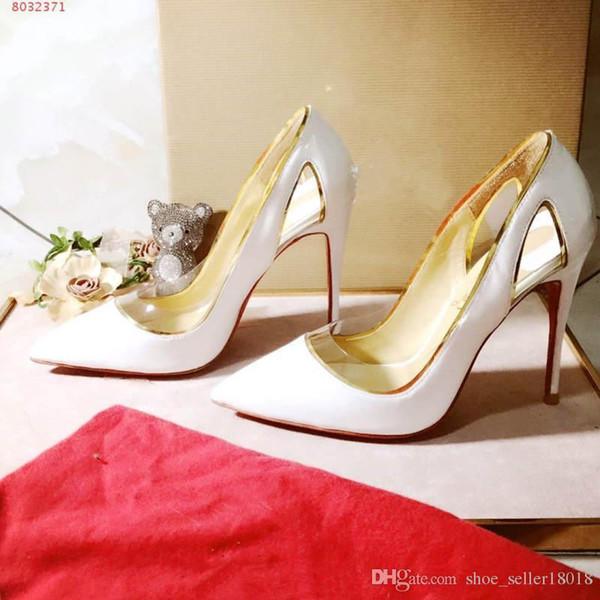 Новейшие женские туфли на высоком каблуке с низким вырезом, прозрачные сандалии с полым элементом, низ красный, высота каблука 10 см.
