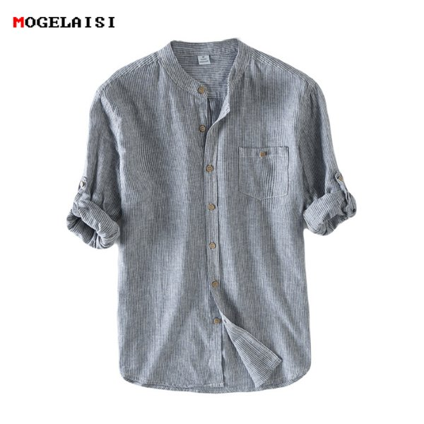 Men Shirt Flax 55% Striped Stand Neck Men's Shirts Linen Cotton Full sleeve Flax Shirt Men Clothing Pocket Asian size