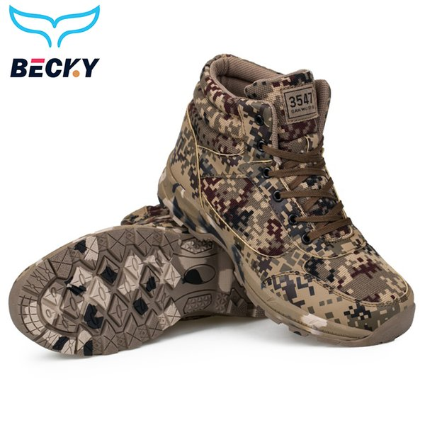 Men Hiking Shoes Outdoor Sport Trekking walking Winter Sneakers waterproof high quality Camo earth yellow canvas tactical shoes