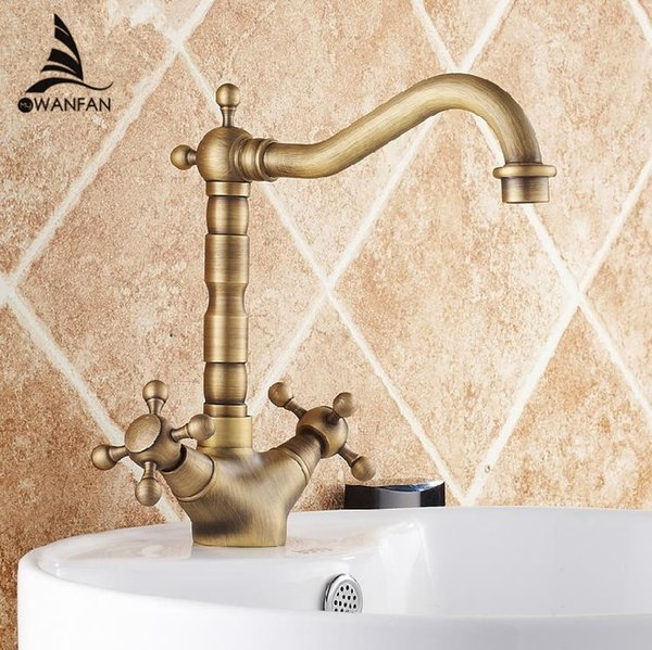 Basin Faucets Antique Bronze Brass Swivel Bathroom Sink Faucet 2 Lever Deck Toilet Washbsin Mixer Water Taps WC Taps ZLY-6711F