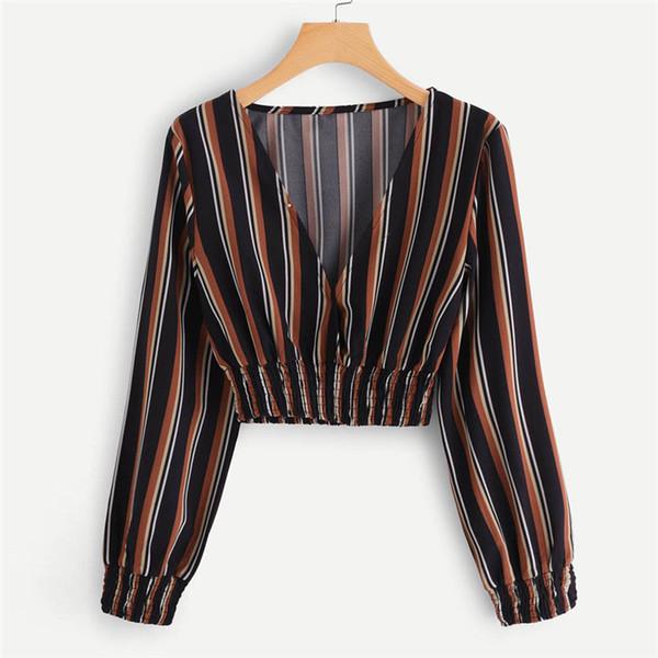 Женская мода Топы и блузки Лето Осень V-образным вырезом с длинным рукавом в полоску Блузка Топы Одежда Рубашка Camicette Y30