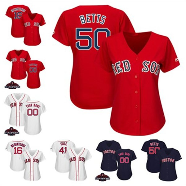 new product 57866 17b8e 2019 Womens Mookie Betts Chris Sale Jersey Custom Red Sox 2018 World Series  Champions Andrew Benintendi Ladies Boston Baseball Jerseys From Azal001, ...