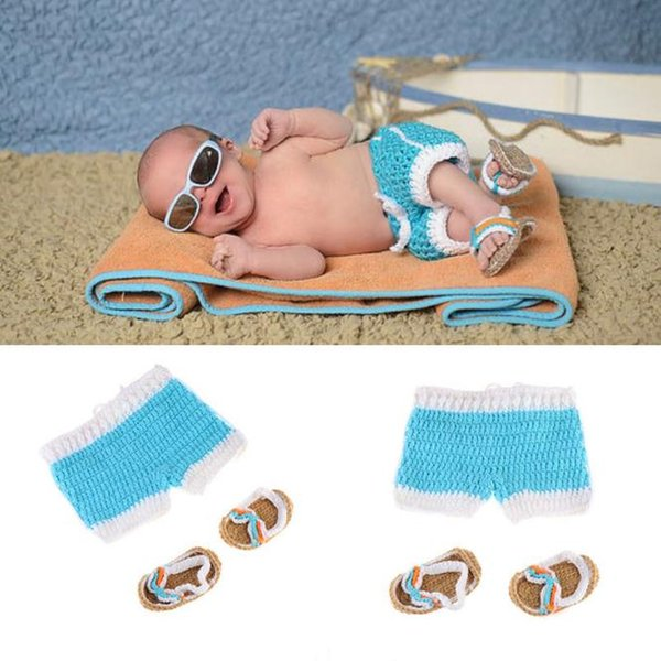 Baby Photography Props Infant Beach Theme Photography Accessories Baby Summer Clothes for Newborn Photo Shoot