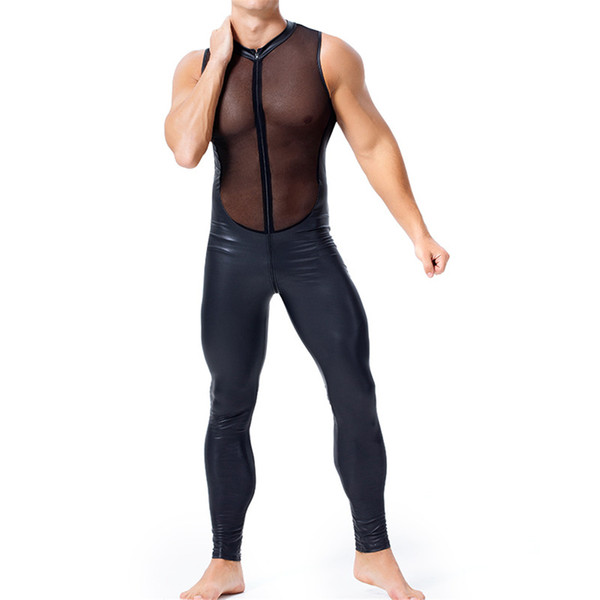 Corpo Meccanica Abbigliamento Uomo più esercizio formato di usura Ecopelle Feticismo Onesies maniche chiusura lampo anteriore tuta Sheer Mesh Maschio Catsuit