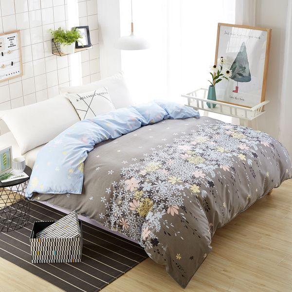 Ev tekstili çiçek nevresim yeni geldi yatak yorgan kapağı 150 * 200 cm tek ekstra yorgan otel gri çiçek yatak keten kapakları