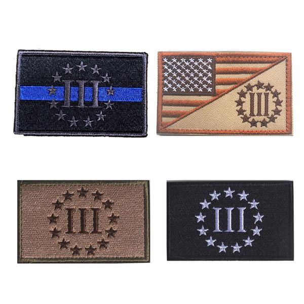 Sottile linea blu III percento patch morale tattico 3D patch in PVC gancio loop ricamo distintivo esercito militare badge bracciale 3D