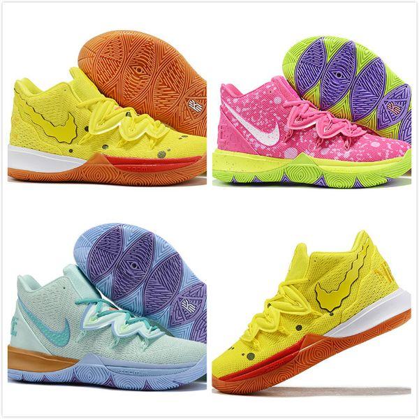 Çocuklar Ananas Ev 5 5s Squidward Patrick Kyrie Basketbol Ayakkabı Sünger Irving Spor Sneakers Erkek Kız Çocuk Bebekler Ayakkabı numarası 11C-3Y
