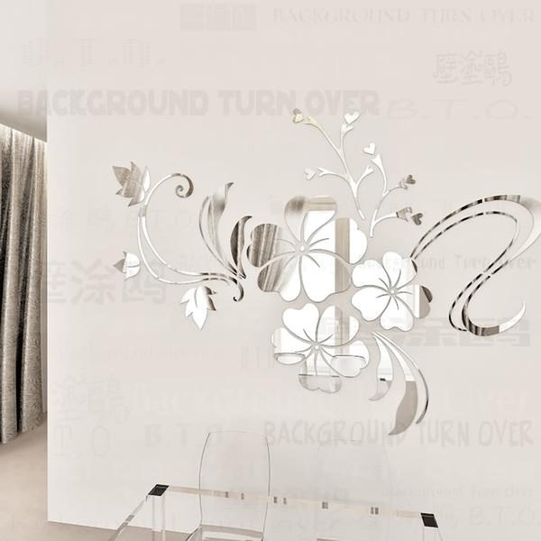 Sıcak Satmak Diy Bahar Doğa Hibiscus Çiçek Ayna Dekoratif Sticker Ev Dekor 3d Duvar Dekorasyon Odası Çıkartmaları Mural R076 Q190531