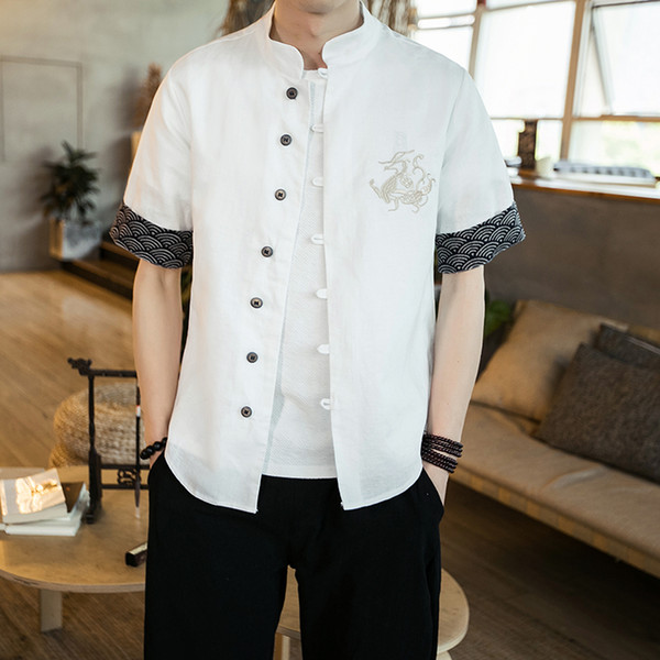 traditional chinese clothing high-quality cotton linen short sleeved shirt Chinese style casual shirt summer blouse for men