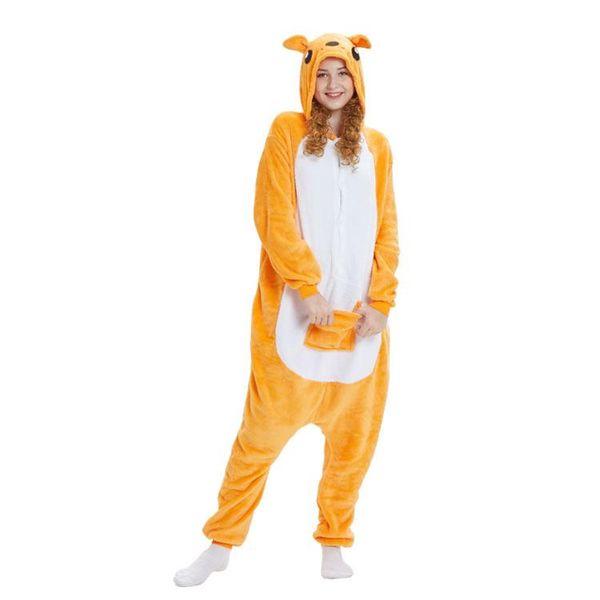 BONJEAN Flannel Kangaroo Cartoon Animal One-piece Pajamas Ladies Winter Couple Home Service Suit