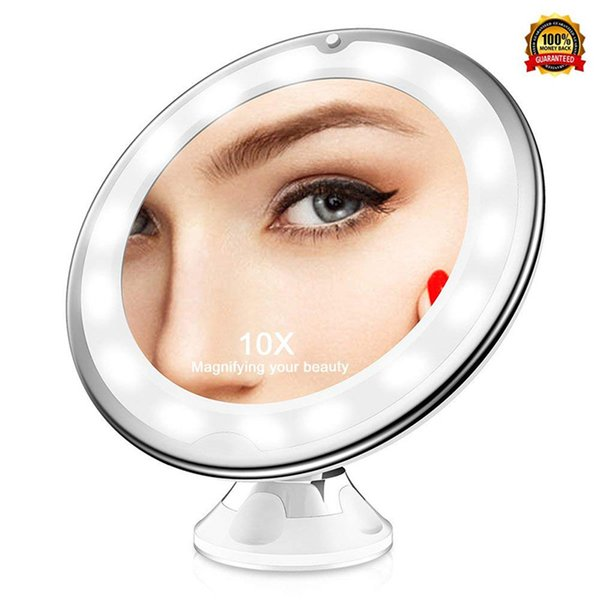 Espejo Bano Aumento Con Luz.Compre Espejos De Mano Portatil Cosmetica Aumento De Luz De Hasta 10 Aumentos Iluminadas Maquillaje Espejo De Bano Con Luces Led Para El Hogar De Mesa