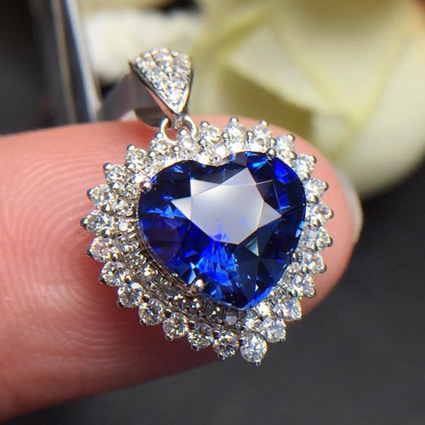 Fine Jewelry Sri Lanka Origin Real 18K White Gold AU750 100% Natural Royal Blue Sapphire Gemstones Pendants for Women Necklace