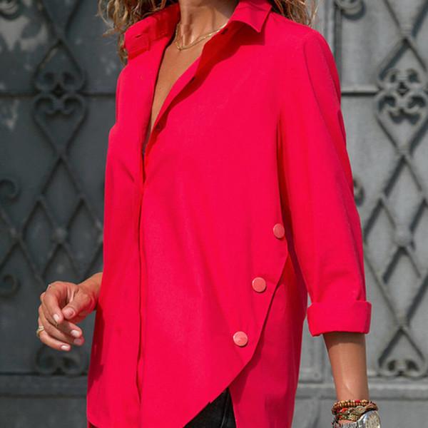 Escritório das mulheres Lady Chiffon Irregular Camisa Sólida Longo Blusa Feminina Botão 2019 Primavera Tops Plus Size 5xl C19040402