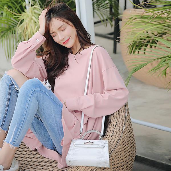 6015 # 2019 Bahar Kore Moda Analık T Shirt Hamile Kadınlar Gebelik için Büyük Boy Gevşek T-Shirt Elbise Bluzlar Tops