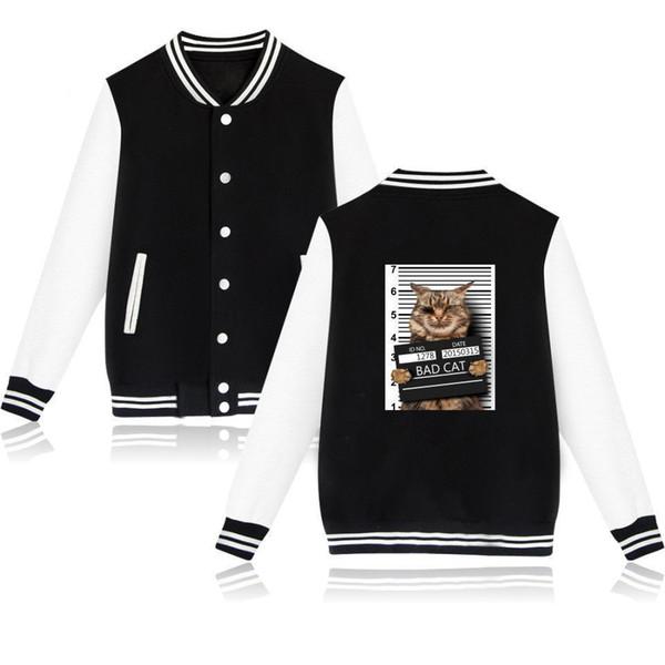 2019 Bad Cat Jacket Women Hoodies Women Winter Funny Capless Sweatshirt Kawaii Crime Photo Casual Jackets Clothes