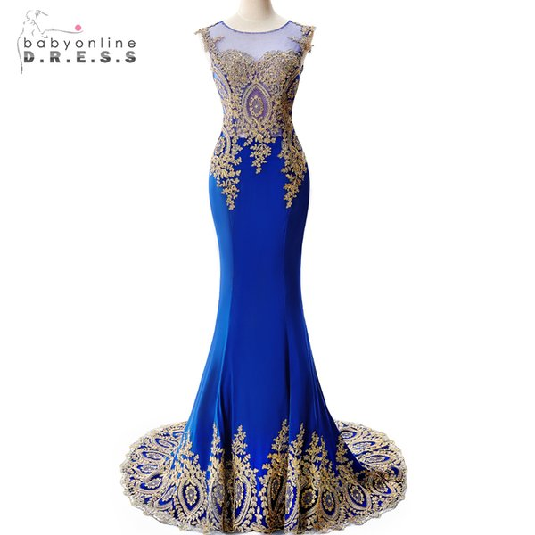Real Photo Royal Blue Long Mermaid Evening Dresses 2019 Sheer Back Gold Applique Evening Gown Formal Dress Prom Robe De Soiree Y19042701