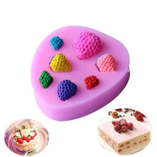 1 stück kleine erdbeeren schokoladenformen 3d fondantform süßigkeiten kuchen silikonformen geprägt backen diy hochzeitsdekoration werkzeuge