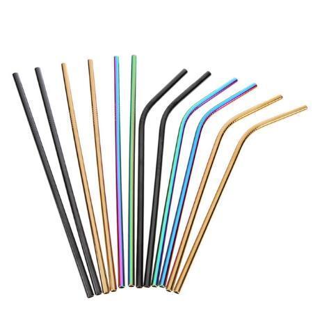 Cannucce in acciaio inox colorate Filtro riutilizzabile dritto e piegato con pennello Accessori per tè e caffè fai da te Accessori per bar party 111