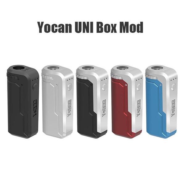 Autentico Box Yocan UNI Mod Preriscaldare VV Vape regolabile Tensione Pen con 650mAh Batteria per tutti 510 510 Adattatore cartuccia d'olio