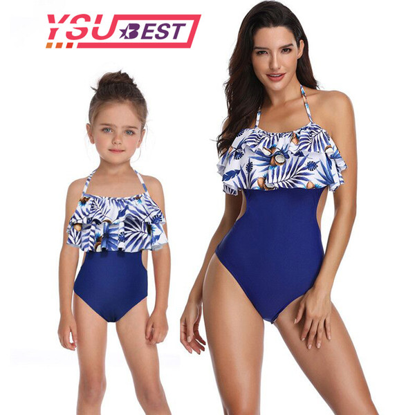 6e55f1769fbfc Mother Daughter Swimsuit One Piece Mom And Daughter Bathing Suit Swimwear  Family Matching Clothes Family Look Mommy Me Bikini Y19051103 Baby And ...