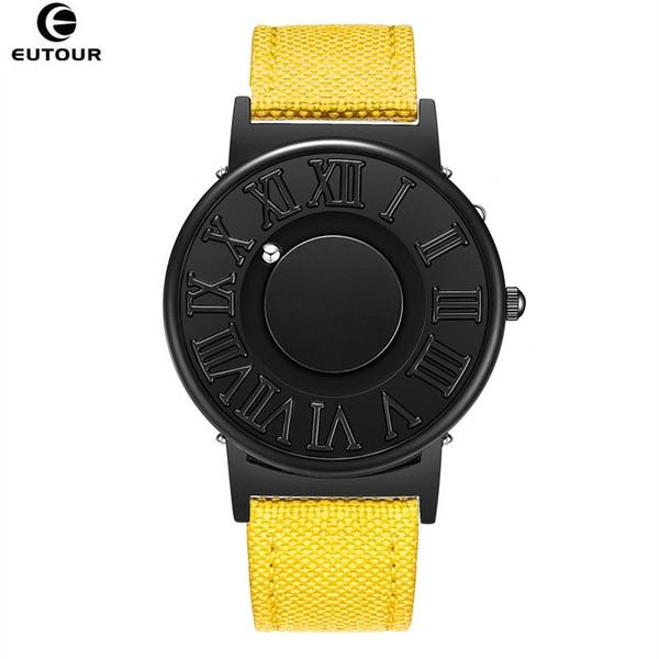 EUTOUR Homem Relógio Pulseira De Couro Da Lona Mens Relógios Bola Magnética Mostrar Relógios De Quartzo Moda Masculina Relógio de Pulso