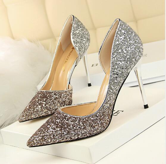 New Brand Designer Gold Silver Glitter High Heels 9.5cm Womens Sexy Stiletto Crystal Banquet Wedding Dress Shoes Pointed Toe Sandals Pumps