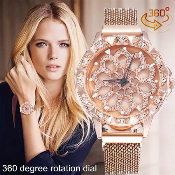Venda quente Ímã Relógios Fivela para As Mulheres Criativas de 360 Graus de Rotação Dial Quartz Relógios de Pulso Feminino Relogio