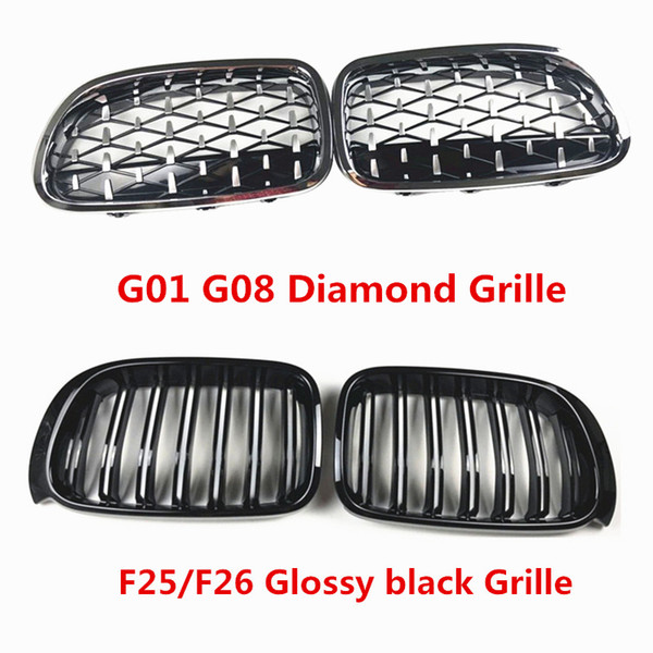 best selling 2 PCS Car Styling F25 F26 Black ABS Front Kidney Double Slat Grille Grills for G01 G08 X3 Diamond Racing GrilleS