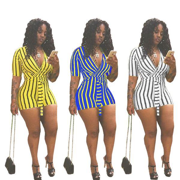 Mujeres del verano impresión de rayas correas mono del color sólido camiseta Tops profundo con cuello en v manga corta Streetwear pantalones de Clubwear caliente C41604