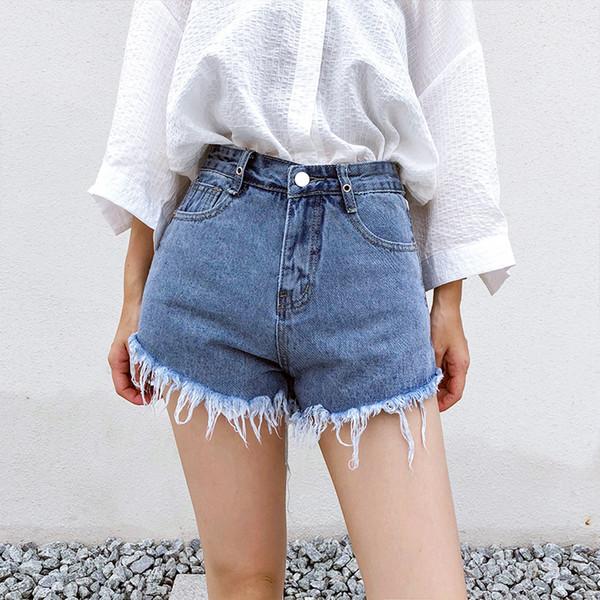 Pantalones cortos de mezclilla de cintura alta Mujer Verano 2019 Moda Casual Sexy Hollow Out Frayed Jeans de pierna ancha Shorts más tamaño