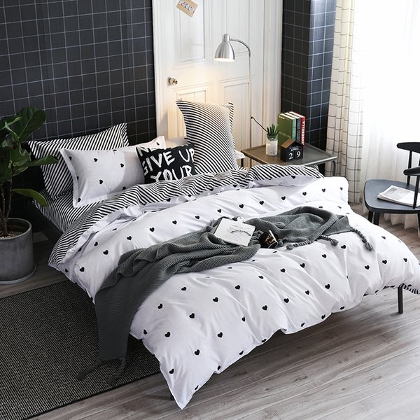 Home Textile love Simple White Bedding Sets Kid Teen Boys Duvet Cover  Pillowcase Bed Sheet Girl Adult twin queen king Bedclothes