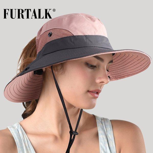 FURTALK Safari chapeaux de soleil pour les femmes d'été Chapeau large Protection UV UPF Brim Ponytail extérieur Pêche Randonnée Chapeau pour Femme