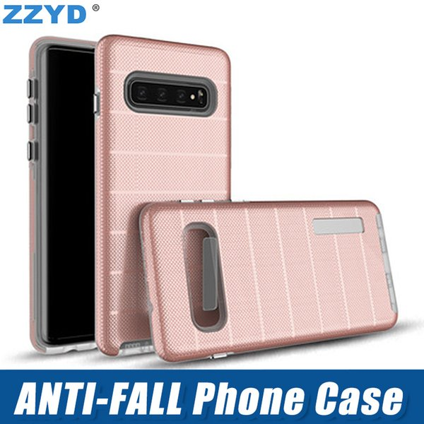 Anti Fall Stripe Phone Case TPU PC Protect Cover for iphone xs max x xr 8 7 6s 6 plus Samsung s10 note