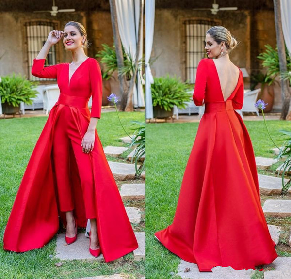 2019 New Red Jumpsuits Prom Dresses 3/4 Long Sleeves V Neck Formal Evening Party Gowns Cheap Special Occasion Pants