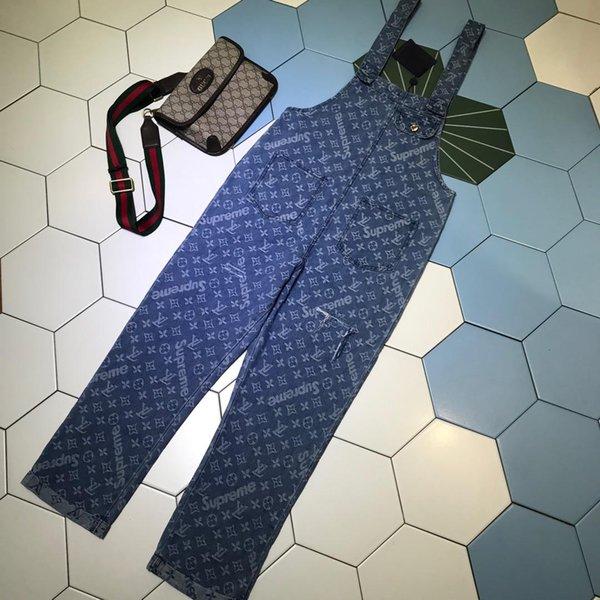Free Shipping 2019 Designer Blue Jeans Letter Print Women's Long Jumpsuits High End Pocket Denim Rompers Womens 82992