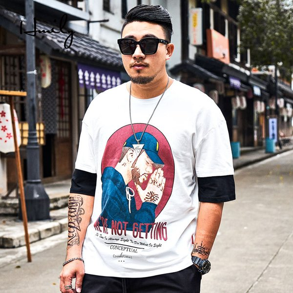 HMILY Plus Size Summer Men Shirt Printed Casual T-shirt Fashion Short Sleeve Tops And Tees Big 6xl Male Brand Clothing White