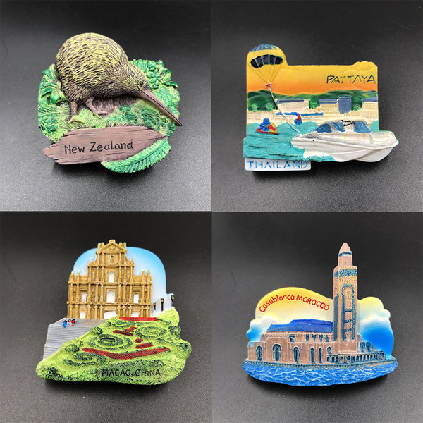 Resina Do Vintage 3D Atrações Mundiais Memorial Handmade resina Geladeira Imã de geladeira de Decoração Para Casa Artesanato Coleção Lembrança