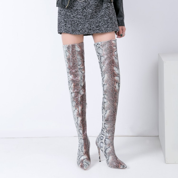 sestito the woman snakeskin print pointed toe over-the-knee boots ladies side zipper thigh high heels dress shoes