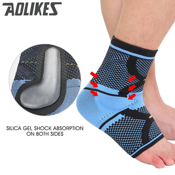 Aolikes 1 set Soft Ankle Support Gym Running Protection Foot Bandage Elastic 3D weaving strap ankle brace sleeves Brand new #17794