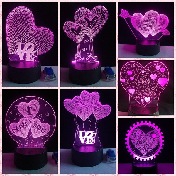 3D Lamp LED Night Light 7 Colors Lover Heart Touch Sensor Table Lamp Home Decor Girlfriend Valentines Day Mother's Day Gift