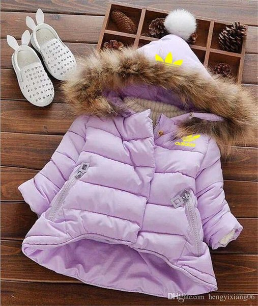 AD Brand Yellow Logo Kids Coat Baby Boys Girls Winter Coat Size 1-6T Childrens Winter Coat Kids Down Cotton Coats Rabbit Hair Collar