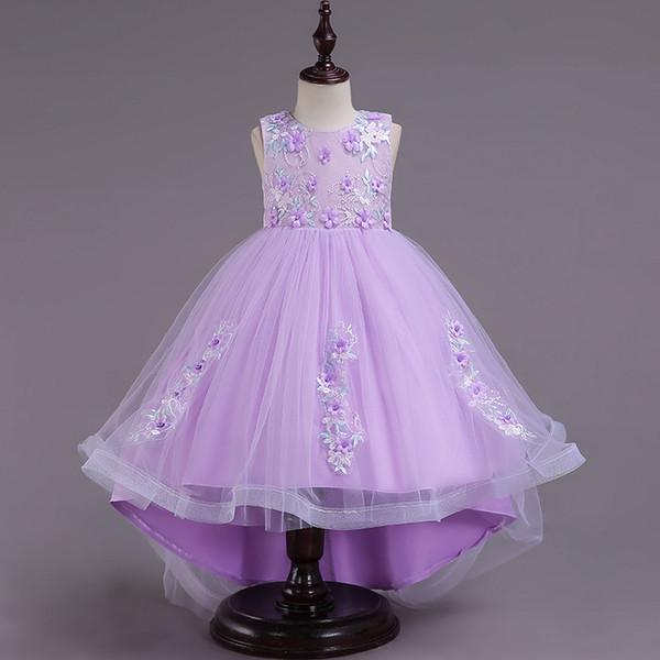 Blanco Alto Bajo Chicas Vestidos de concurso Vestidos de encaje Sin mangas Vestidos de niña de flores para la boda Púrpura Tul Puffy Niños Comunión