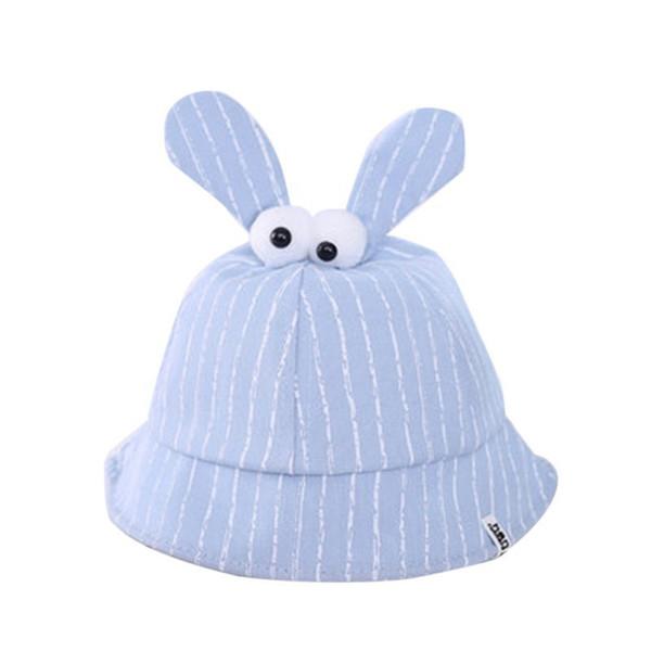 Summer Baby Boys Girls Toddler Eyes Striped Print Bucket Hats With Ear Design Caps Reversible Sun Headwear